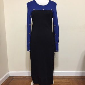 Calvin Klein Solid Black Blue Dress Size 6* Midi